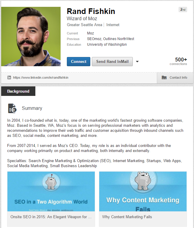 Rand Fishkin LinkedIn