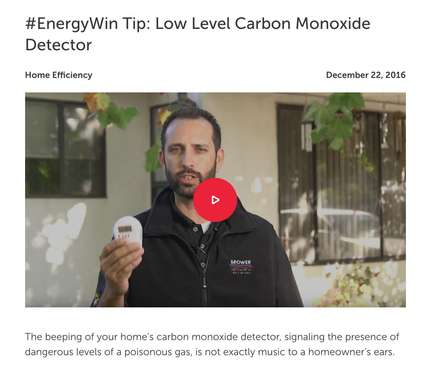 #EnergyWin Tip: Low Level Carbon Monoxide Detector