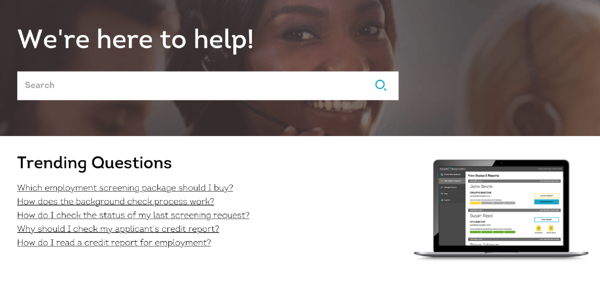 An example of a help center or FAQ.